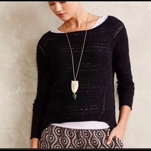 Anthro Moth Stitch Mix High Low Sweater Charcoal